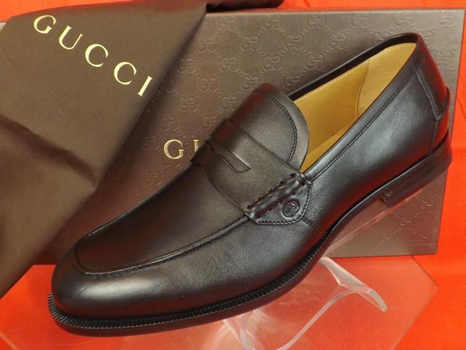 4e2a1fb7bb1 Gucci Black Mens Patmos Leather Interlocking Dress Penny Loafer 9 10 368456  Shoes Image 5. 123456