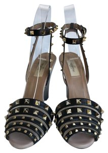 Valentino Wedge Gold Tone Hardware Pyramid Stud Black Sandals