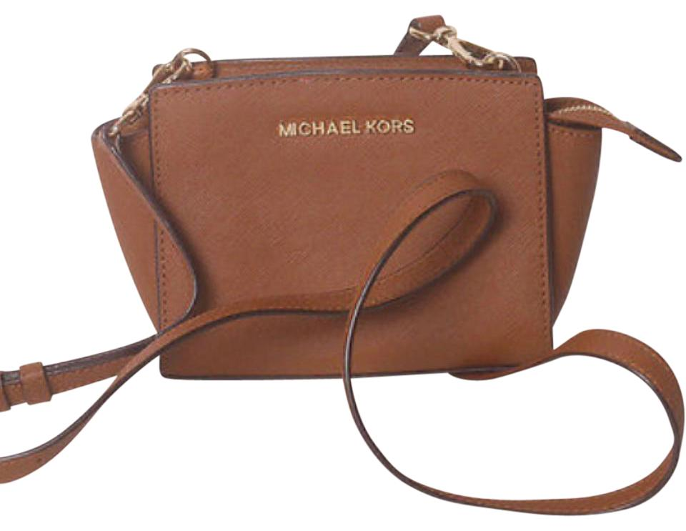 Michael Kors Selma Mini Brown Saffiano Leather Cross Body Bag - Tradesy 6c84498308695