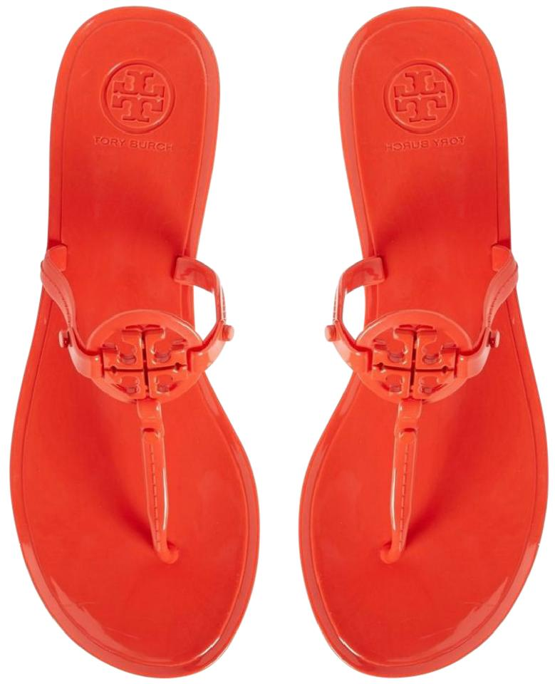 7deb2e3572f2 Tory Burch Poppy Red Colori Jelly Flat Thong Sandals Size US 5 ...