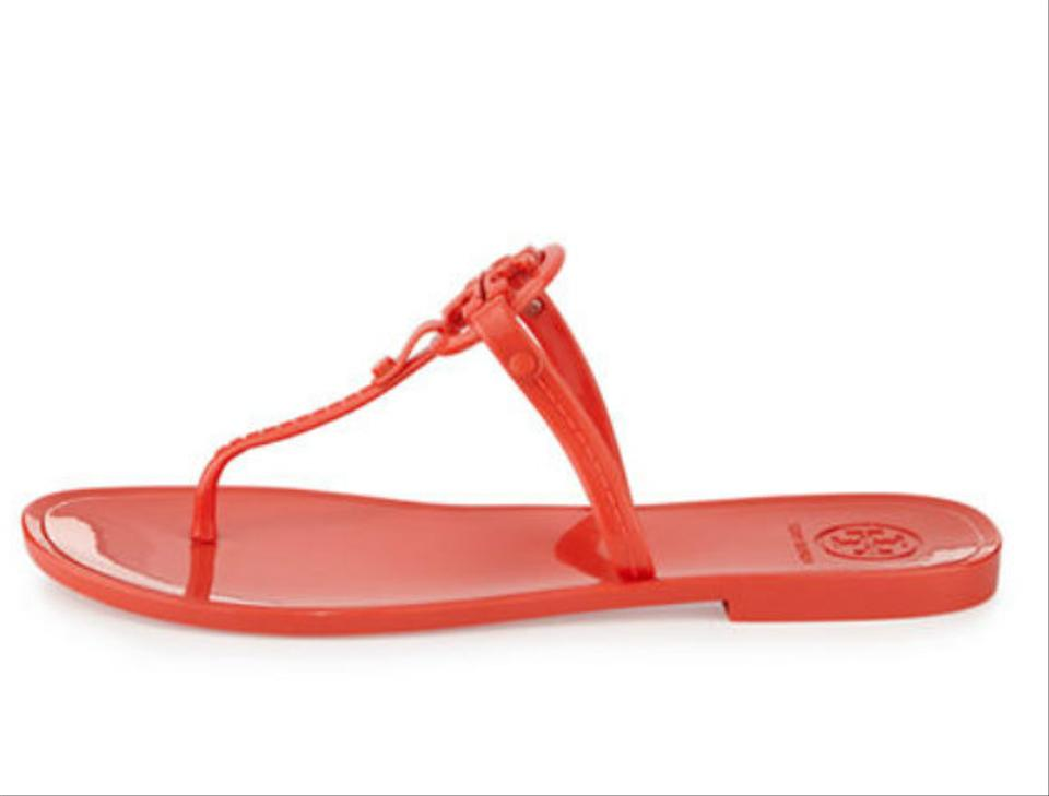 d7e7508c4508 Tory Burch Poppy Red Colori Jelly Flat Thong Sandals Size US 5 Regular (M