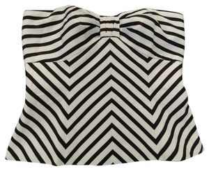 White House | Black Market Strapless Chevron Out Date Night Top Black & White