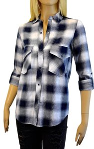 Zara Button Down Shirt blue and white