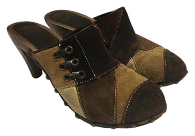 Item - Brown Multi Fallon P318 Suede Leather Patchwork Leather Trim with Tack Mules/Slides Size US 7 Regular (M, B)
