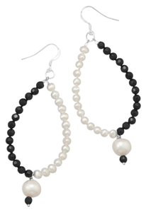 Unknown Black Glass and Cultured Freshwater Pearl Earrings