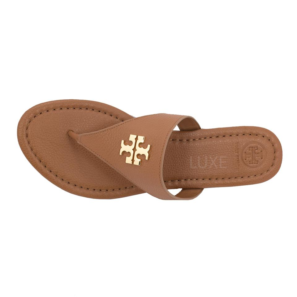 2402e14abd5721 Tory Burch Royal Tan Gold Laura Flat - Tumbled Leather Sandals Size ...