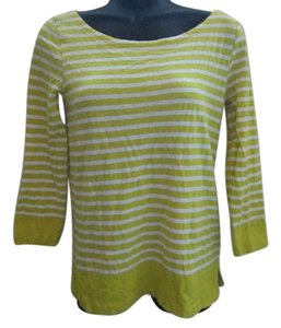 J.Crew Striped Spring Summer Knit Cotton Top Yellow & White