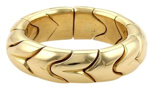 BVLGARI Bulgari Spiga 18k Yellow Gold 6mm Fancy Design Dome Band Ring Size 6