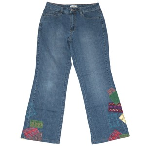 Coldwater Creek Embroidered Patches Boot Cut Jeans-Medium Wash