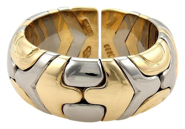 Item - Yellow Gold & Steel Parentesi 8.5mm Open Band 18k Size 6 Ring