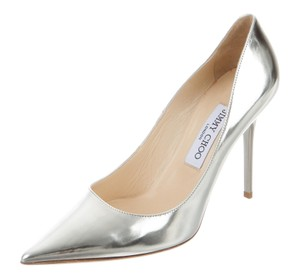 Jimmy Choo Metallic Hardware Anouk Pointed Toe Textured Silver Pumps