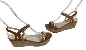 MICHAEL Michael Kors Cork Base NEW Brown leather lining insoles leather ankle straps gold grommets open toe Wedges