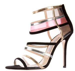 Jimmy Choo Cage Peep Toe Strappy Ankle Mixer Black, Gold, Pink Sandals