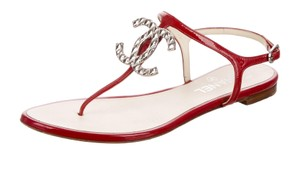 Chanel Silver Hardware Interlocking Cc Logo Strappy Ankle Strap Red, Silver Sandals