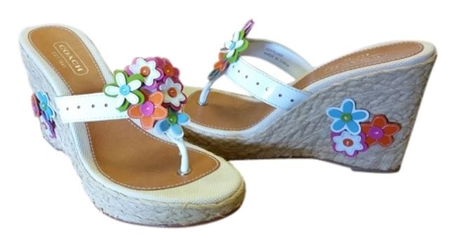 Item - Straw with Green Orange and Pink Flowers A)nd Front. Jesica Wedges Size US 7 Regular (M, B)