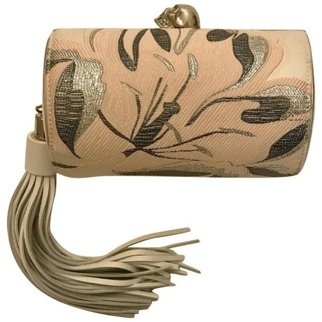 Item - Floral North South with Chain Cream Pink Satin Clutch
