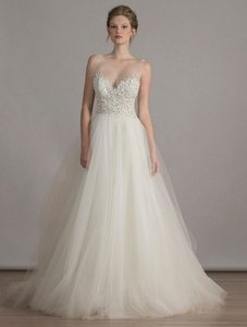 Liancarlo Diamond White Tulle with Crystal Beadwork and Embroidery 6828 Formal Wedding Dress Size 10 (M)