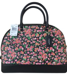 Coach Floral Rose Leather Satchel in Pink/Multi