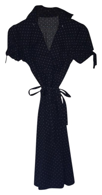 Item - Blue and Brown W Polkadot Wrap Collar Mid-length Casual Maxi Dress Size 4 (S)