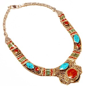 Other RED CORAL & TURQUOISE 925 SILVER NECKLACE
