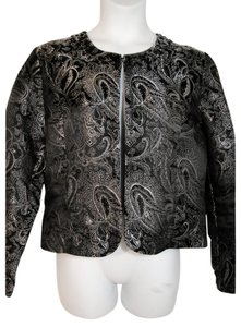 Chico's Silk Blend Cover-up Formal Evening Black and Silver Jacket