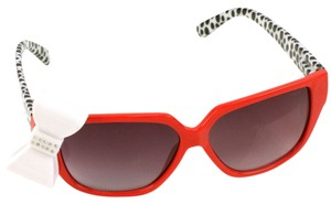 fashion sunglases Playful Red 3D Ribbon Bow Smoke Lens Sunglasses Shades Red Animal Print