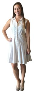Theory short dress Creme Buttoned Front Flared Skirt Panaled Sleeveless Cotton on Tradesy