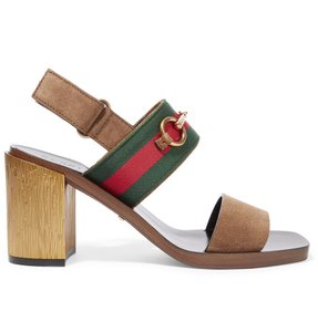 Gucci Querelle Horsebit Suede Brown Sandals