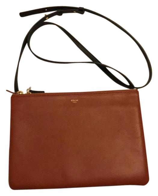 Item - Trio Large Style#171453a14 Brown and Black Lambskin Leather Cross Body Bag