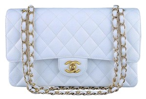 Chanel 2.55 Double Flap Caviar Classic Gold Hardware Shoulder Bag