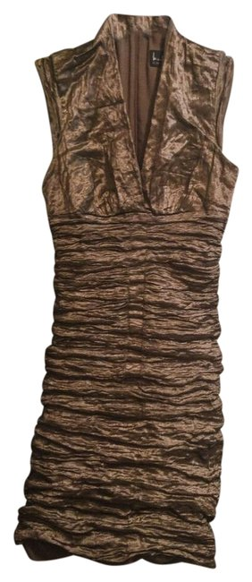 Item - Bronze Metallic Ruched Mid-length Cocktail Dress Size 10 (M)