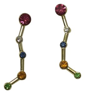 Purificacion Garcia Gold Dangle Earrings With Colored Crystals