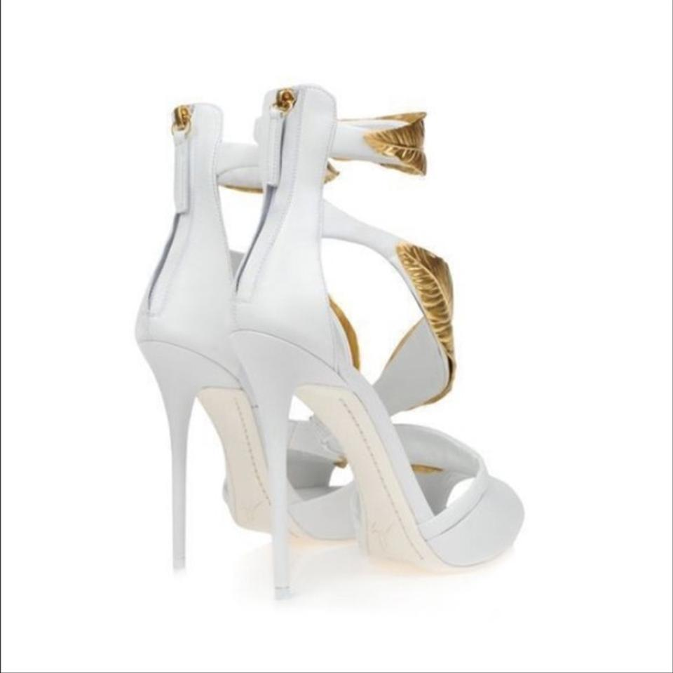 Giuseppe Zanotti Gold Leaf Heel White Sandals On Sale 60