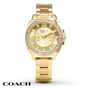 Coach Coach Boyfriend 14501700 Gold Stainless Signature Glitz Watch