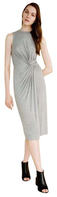Item - Gray Jersey Knotted Soft Stretch Spring Summer Midi Mid-length Short Casual Dress Size 8 (M)