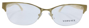 Versace Brushed Gold and Beige Half Rim Versace Eyeglasses MOD. 1222 53