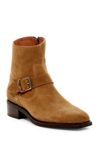 Frye Suede Buckle Square Toe Cashew Boots