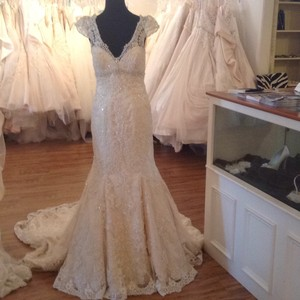 Allure Bridals Ivory/Light Gold Lace C207 Feminine Wedding Dress Size 14 (L)