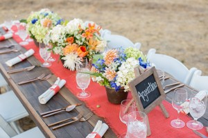 Coral Burlap Wedding Table Runners