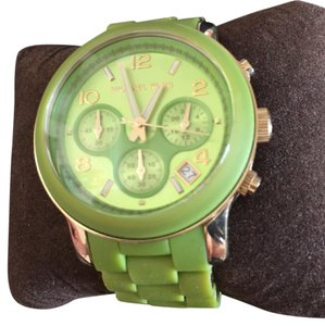 Michael Kors w/ Box Silicone / Rubber / Jelly Over sized Green&Gold tone MK Watch
