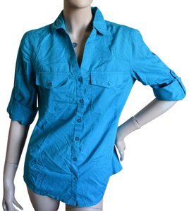 Ellen Tracy Button Down Shirt CARIBBEAN SEA BLUE