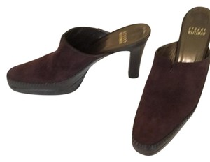 Stuart Weitzman chocolate brown suede Mules