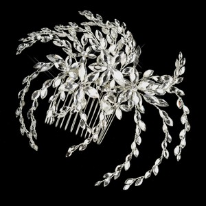 Elegance by Carbonneau Silver Clear Marquise Rhinestone Floral Side Comb 4516 Hair Accessory