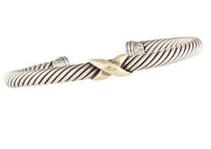 David Yurman Sterling silver David Yurman 14 k gold X station cable classics cuff