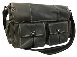 Fossil Leather Unisex Laptop Messenger Wide Strap Laptop Bag