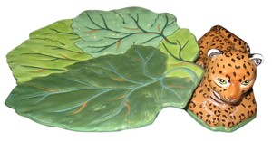 Lynn Chase Lynn Chase Jungle Jubilee Large Leaf (with Jaguar) Serving Tray sold by Neiman Marcus.