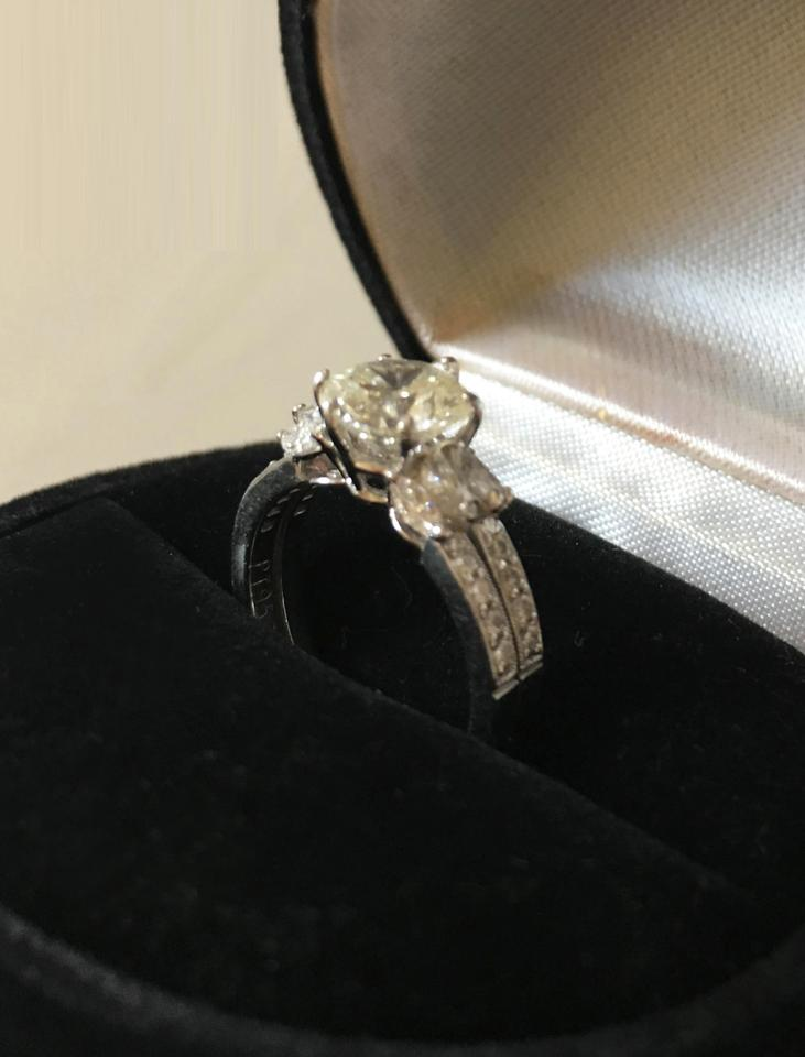 Diamond cut 24k white gold and engagement ring tradesy for Buy now pay later wedding rings no credit check
