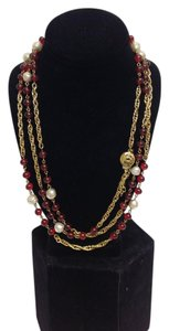 Chanel Gold , red gripoix and pearl vintage extra long necklace