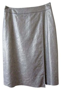 Eileen Fisher Metallic Wrap Skirt silver