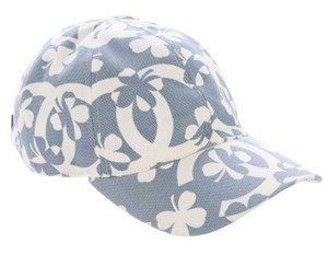Chanel Light blue, white Chanel interlocking CC logo cap